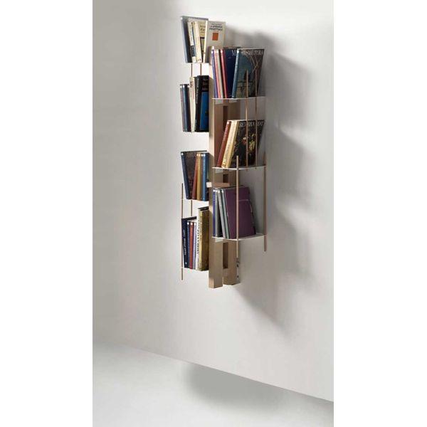 Libreria sospesa a colonna da parete in legno Zia Veronica