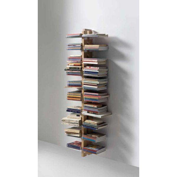 Libreria salvaspazio a muro a colonna in legno massello ZiaBice