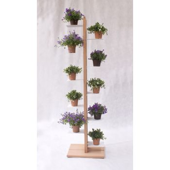 Portavasi verticale Zia Flora in legno naturale per 4 | 7 | 10 | 13 vasi