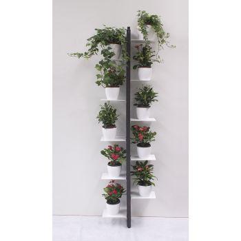 Portavasi da parete Zia Flora a colonna in legno per 10 | 14 vasi