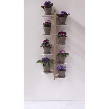 Portavasi sospeso Zia Flora in legno massello per 5 o 8 vasi