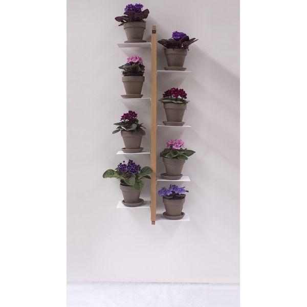 Portavasi da interno da appendere in legno massello per 5 o 8 vasi Zia Flora