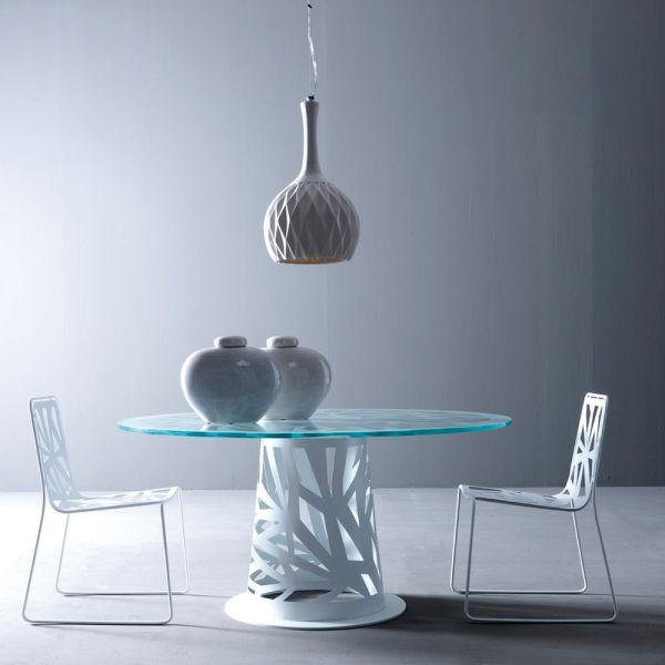 tavolo rotondo vetro domino   tavolo da pranzo in metallo con ... - Tavolo Rotondo Vetro Allungabile