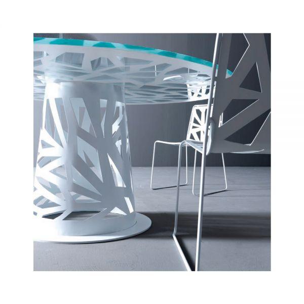Tavolo rotondo vetro domino tavolo da pranzo in metallo for Tavolo rotondo 160 cm