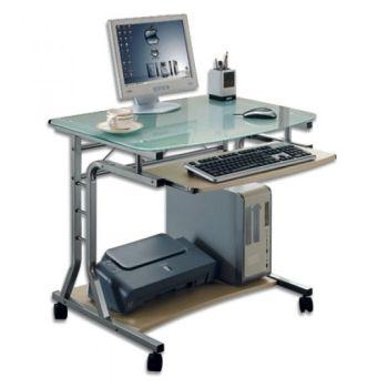 Scrivania per PC in metallo e vetro con ruote 80 x 60 cm