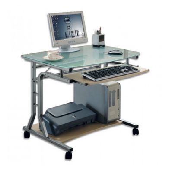 Scrivania per PC in metallo e vetro su ruote 80 x 60 cm per ufficio