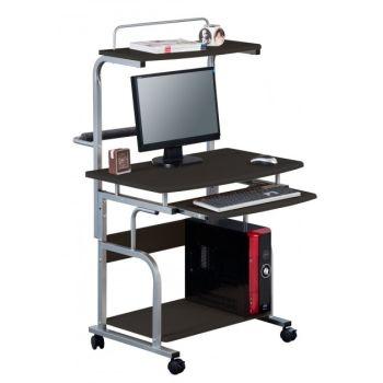 Scrivania Multifunzione porta PC con ruote e porta stampante 80 x 70 cm