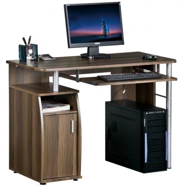 TB228 scrivania compatta per PC a quattro ripiani colore noce scuro