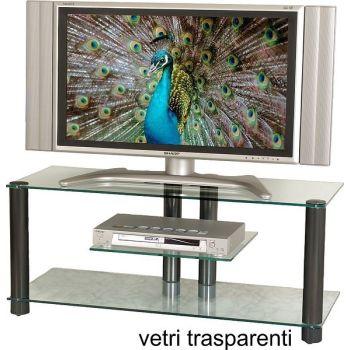 2019 mobile porta TV con ripiani in vetro trasparente fumè o satinato