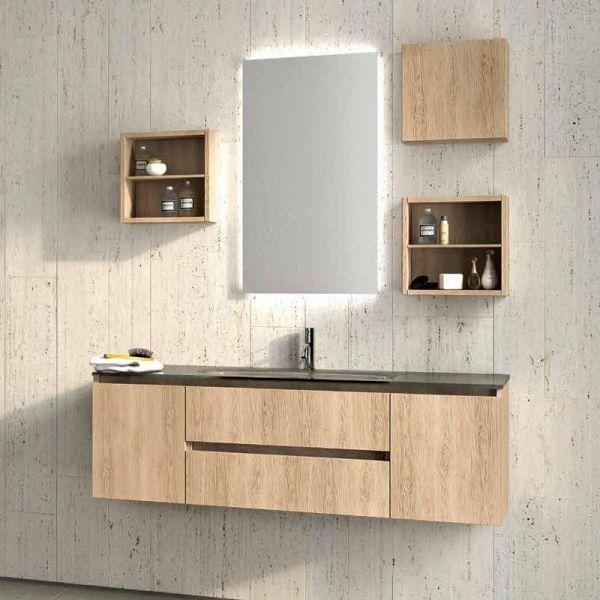 1 composizione arredo bagno in legno rovere
