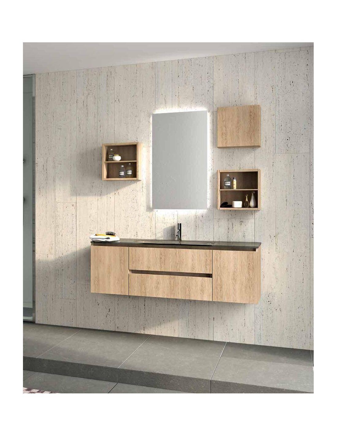 Mensola legno grezza led - Specchiera per bagno ...