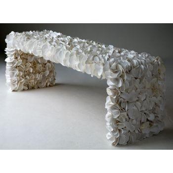 Panca da esterno in PVC decorata a mano Bianco Rosso Nero