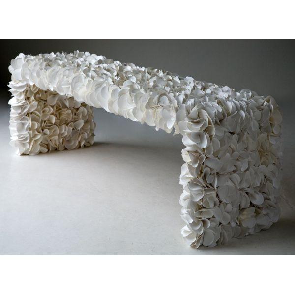 Panchina da giardino moderna in PVC e tela nautica Panca Bench