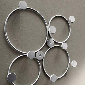 Attaccapanni da parete Circles in metallo laccato 52 x 52 cm
