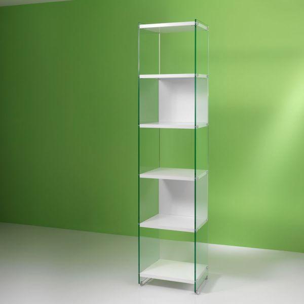 Libreria a colonna design moderno in vetro e laminato 202 cm Byblos202
