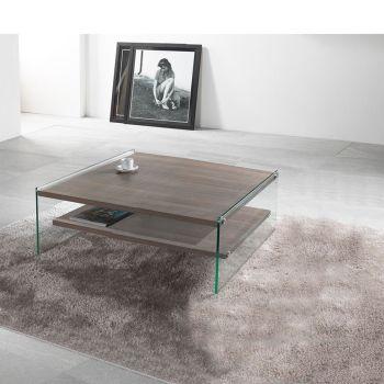 Tavolino da salotto Maxim in vetro e laminato 80 x 80 cm