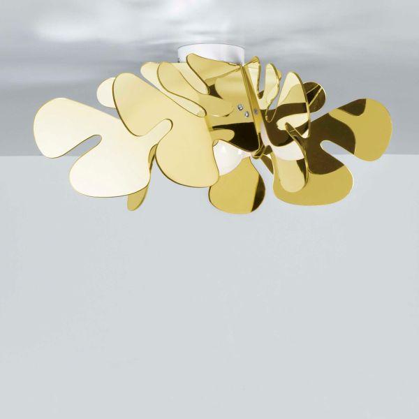 Aralia gold plafoniera moderna in plexiglass