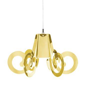 Lampadario Ricciolino Gold in plexiglass Oro diam. 55 o 70 cm
