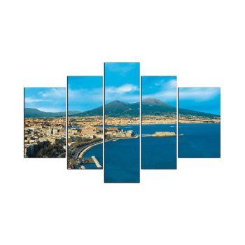 Quadro Napoli di giorno riproduzione su 5 pannelli legno MDF