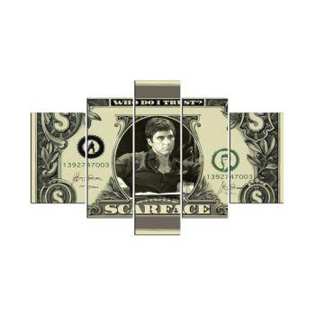 Quadro Scarface Banconota stampa su 5 pannelli legno MDF