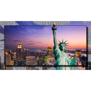 Miss Liberty quadro con cornice decorata per camera da letto 77x143 cm