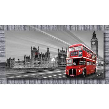 Quadro Londra Bus stampa su tela con cornice argentata