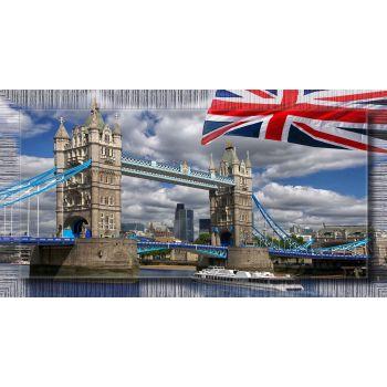 Quadro citta' Londra Flag riproduzione su tela Tower Bridge