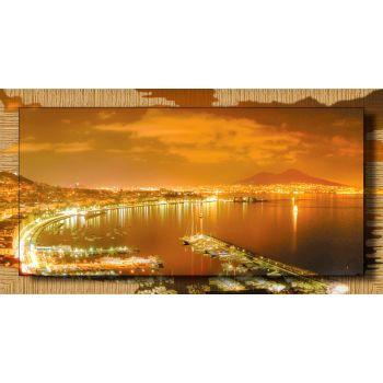 Quadro Napoli di notte stampa su tela con cornice dorata