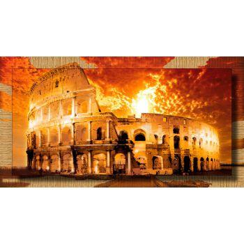 Quadro stampa Colosseo su tela cotone con cornice dorata 77x143 cm