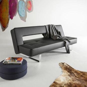 Divano letto Puzzle Luxe schienale reclinabile materasso a molle in ecopelle