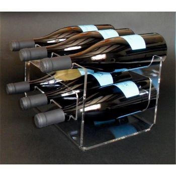 Cantinetta vino Evident per 6 bottiglie in metacrilato trasparente
