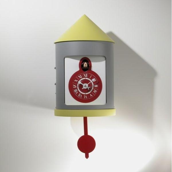 Orologio cucu in legno e alluminio design moderno Silos