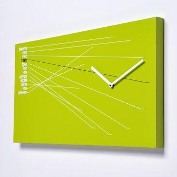 Orologio da parete Timeline in legno Nero Verde Arancio 66 x 35 cm
