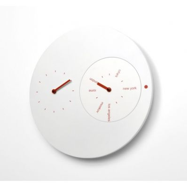 Orologio moderno da muro design in legno bianco Jetlag