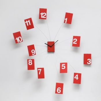 Orologio design Iltempovola da muro in acciaio e pvc Rosso o Nero