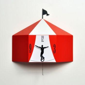 Circus orologio con pendolo da parete 30 x 28 cm Nero o Rosso