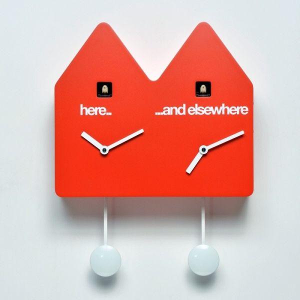 Orologio da parete con cucu design moderno a forma di casetta Double q
