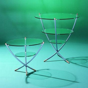 Tavolino da soggiorno Trino in acciaio e vetro a 3 ripiani