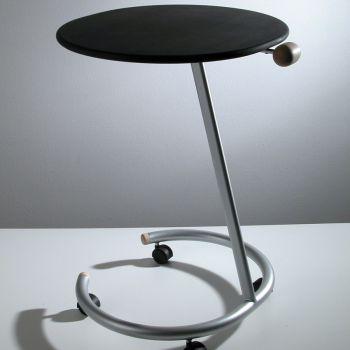 Tavolino con ruote Trottolo laterale divano salotto in acciaio e legno