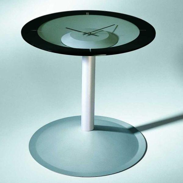 Tavolino da soggiorno Attesa con orologio e piano in vetro