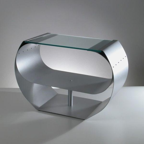 Tavolino da salotto design moderno in vetro e acciaio Ring