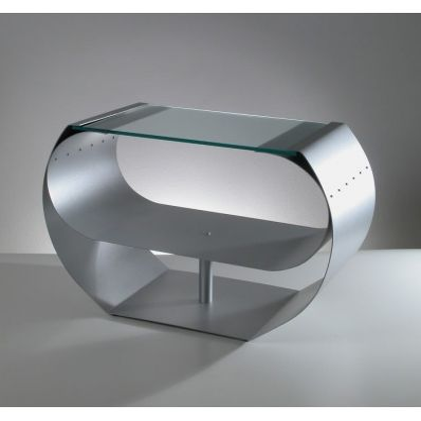 Tavolino basso da soggiorno in vetro e acciaio Ring