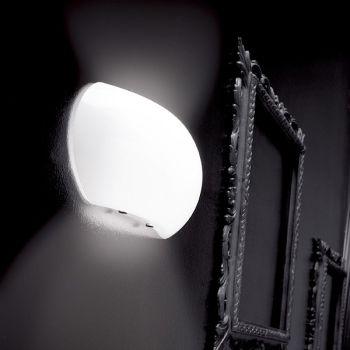 Applique Bulle D301 a parete in vetro soffiato bianco lucido