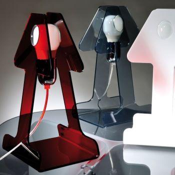 Ghost lampada da tavolo abatjour in metacrilato bianco rosso fumè