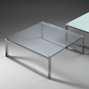 Tavolino moderno Stain in vetro trasparente 80 x 80 cm