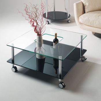Tavolino da salotto quadrato Hole in vetro 80 x 80 cm
