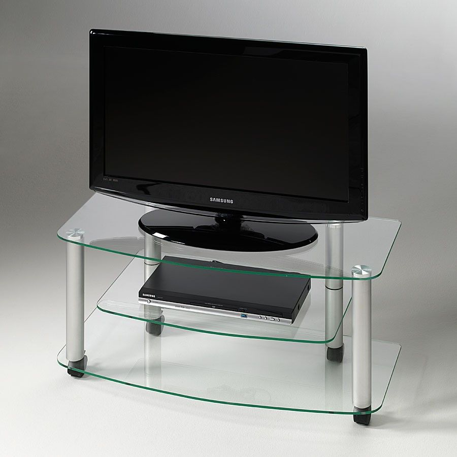 mobiletto porta tv moderno millenium in vetro e alluminio 90 x 40 cm. Black Bedroom Furniture Sets. Home Design Ideas