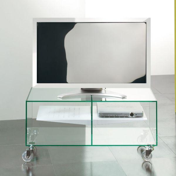 Carrello porta TV lcd in vetro trasparente Ebox 90 x 40 cm