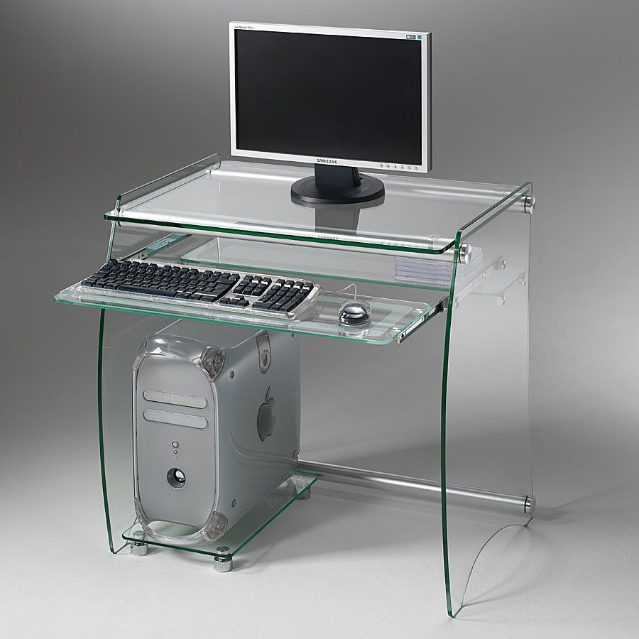 Scrivania computer porta pc in vetro 75 x 55 cm clear - Mobile pc a scomparsa ...
