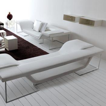 Flap divano design moderno in acciaio ed ecopelle Bianco 280 cm